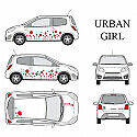 Kit stickers car déco 'urban girl' rouge Taille S