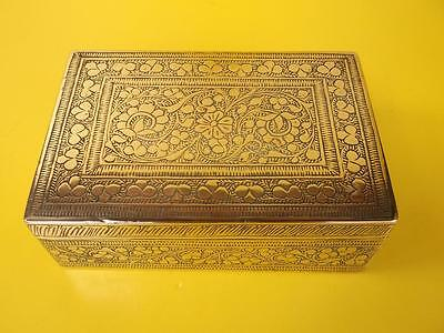 166 / Early 20Th Century Indian Brass Box With Engraved Floral Design