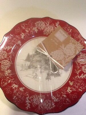 222Fifth Andover Christmas 4 New Appetizer / Dessert Plates