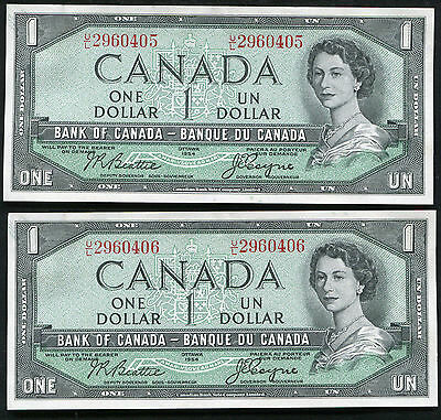 (2) Consecutive 1954 $1 One Dollar Bank Of Canada Banknotes Gem Unc