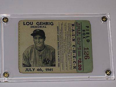 1941 yankees feild box ticket lou gehrig pictured