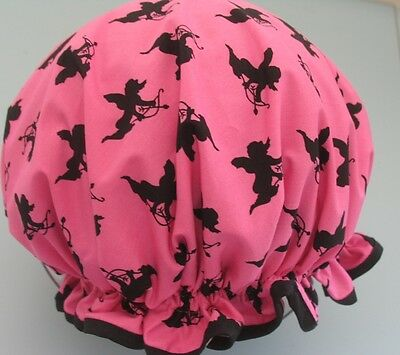 Shower Cap Hat   Australia  Handmade, Waterproof  Cotton Hot Pink And Cupits
