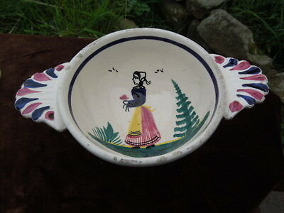 Vintage French Faience HB Quimper Two Handled Bowl Breton Figure