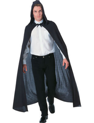 Adult Black Long Hooded Vampire Count Halloween Fancy Dress Costume Cape