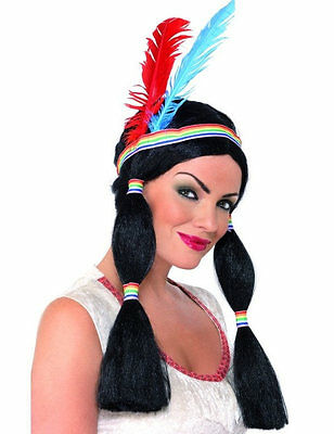 Ladies Red Native Indian Princess Pocahontas Squaw Fancy Dress Costume Wig