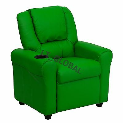 Kids Padded PU Leather Recliner Chair Children Sofa Arm Drink Holder Green