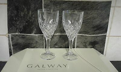 Galway Crystal Tralee Large Wine Glasses- Goblets - Boxed Set of 4 New in Box