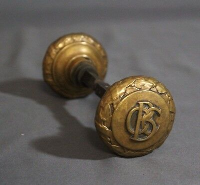 "Pair 1890's Old Colony Building Chicago Cast Brass 2.25"" Yale & Towne Doorknobs"