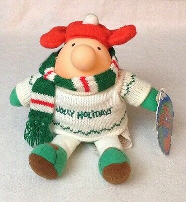 """Vintage 1991 NEW w Tags Christmas Ziggy Plush 9"""" Doll Toy Jolly Holidays Sweater"""