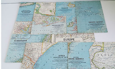 National Geographic Maps 1960s Lot of 21 Case Melville Grosvenor Editor Vintage