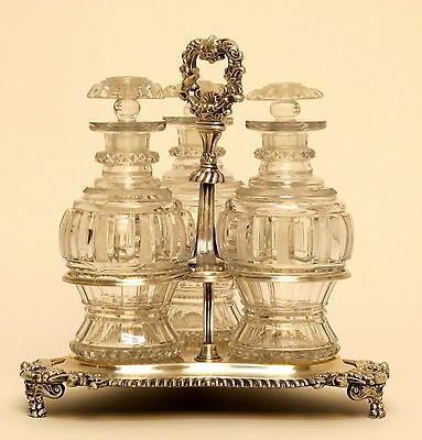 Pre 1830 Tantalus With 3 Crystal Wine Decanters and Sheffield Silver Frame