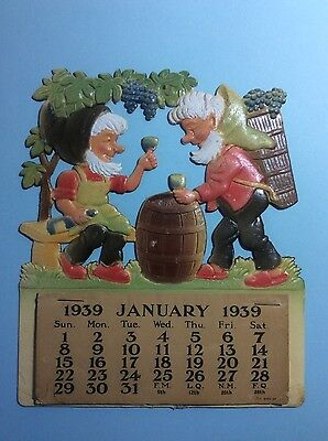 Vintage 1939 Old Store Office Wall Calendar c Moss Elves Gnomes Wine