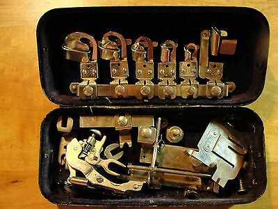 ANTIQUE WHITE Family ROTARY SEWING MACHINE ATTACHMENTS FEET ACCESSORY BOX