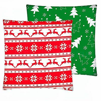 Nordic Reindeer Christmas Tree cushion cover pillowcase  40x40 cm 100% cotton
