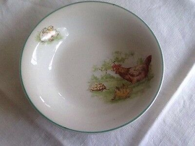 Sweet little Nelson Ware bowl featuring chickens and tortoise