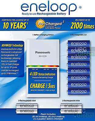 Newest Panasonic eneloop Kit 8 AA 4 AAA +3 hr Quick Charger/4 LED battery Tester