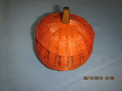 Halloween Vintage Wicker Pumpkin, Top Comes Off, Great For Candy