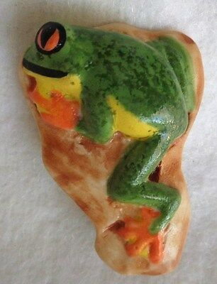 Vintage CAROL HALMY Hand Crafted - Signed FROG BROOCH/ PIN