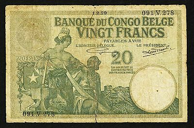 """""""VG+ as Scans"""" 1912-1937 1929 Belgian Congo 20 Francs P-10f, Scan-031"""