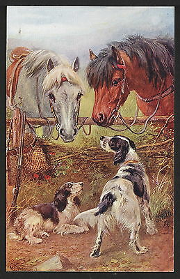 Vintage Raphael Tuck Faithful Friends Series No. 3297 Horses & English Setters
