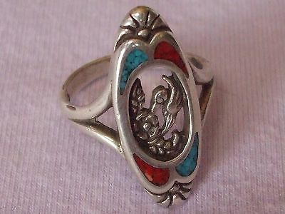 Native American Sterling Silver Turquoise/ Coral Inlay Size 6.25