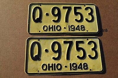 Vintage PAIR of 1948 Ohio Aluminum License Plates; Q 9753; Repainted