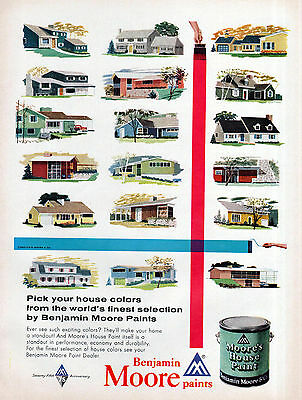 Benjamin Moore Paint Ad 1950s Homes Architecture DIY Original Vintage