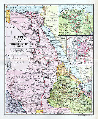 EGYPT Abyssinia Northeastern Africa Map Antique Color Detailed 1906 Dodd Mead