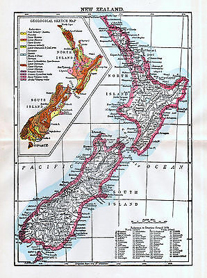 New Zealand Antique Map 1897 Original Country Map Wall Decor