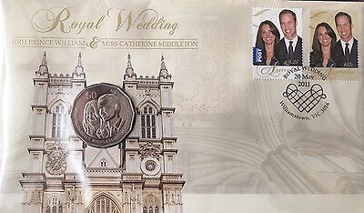 2011 Royal Wedding 50 cent coin & envelope with stamps
