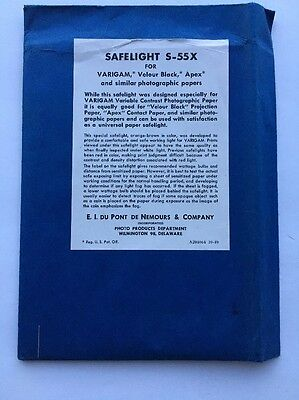 "1950s DuPont S-55X Safelight Filter, 5""x 7"" Inches Varigam Vintage Antique"