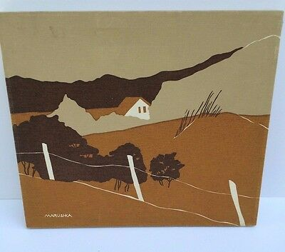 """Vintage Marushka canvas--Brown, Tan and Beige, Homestead scene 16"""" by 14"""""""