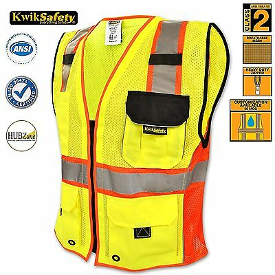 Reflective Safety Vest Deluxe Security Reflective Strips Ansi Class 2 All Sizes