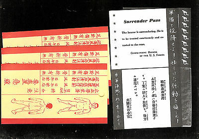 2 Japanise surrender pass from US 3 wound tags for belt boots toe WW2 Japan