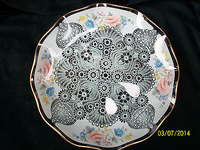 Chance Glass Cake Plate  Drilled for a Stand or Handle