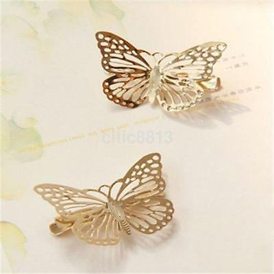 2PC Elegant Ladies Gold Butterfly Hair Clip Hairpin Wedding Barrette Accessories