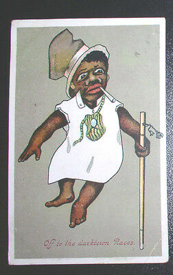 """Racist  Post Card - C. 1910 """"Off to the Darktown Races"""""""