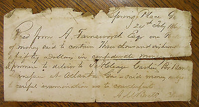 1864 Receipt for $3650 in Confederate Money to bring to Atlanta