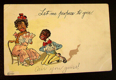 """Racist  Post Card - C. 1907  """"Let me propose to You"""""""
