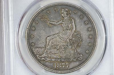 1877-S Trade $1 Silver Dollar Chop Marks Pcgs Xf45