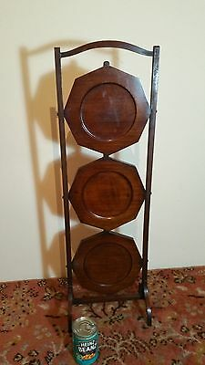 Antique folding mahogany wooden cake stand