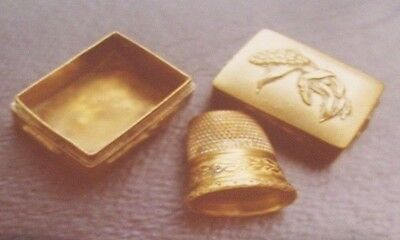 Antique SEWING BRASS THIMBLE BOX WITH THIMBLE-SEWING
