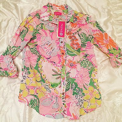 Lilly Pulitzer for Target NWT Nosey Posey Shirt Size Small Gold Buttons Blouse