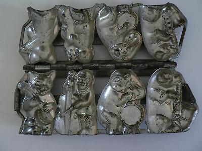 VINTAGE 30s ANTON REICHE ANIMAL BAND PIG ELEPHANT DOG CAT CHOCOLATE CANDY MOLD