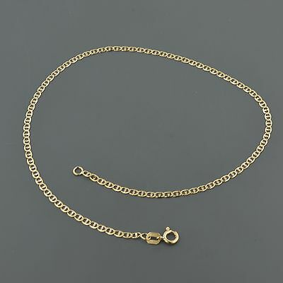10K YELLOW 2.0mm FLAT MARINER LINK CHAIN ANKLET
