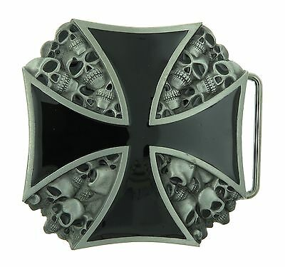 Black Cross with Skull Head Metal Belt Buckle