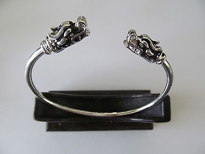 VINTAGE SILVER PLATED w/DRAGON HEAD ETCHINGS ON EACH SIDES CUFF BANGLE BRACELET