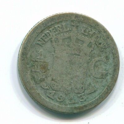 1913 Netherlands East Indies 1/10 Gulden Silver Colonial Coin Nl13281#3