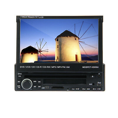 Hot Single1Din Flip Up In-Dash Car Stereo Radio DVD Player Bluetooth Touch Ipod