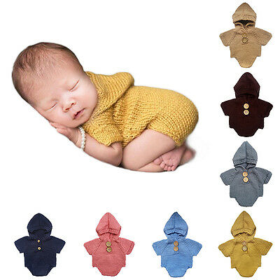 Newborn Baby Infant Knitted Hooded Romper Jumpsuit Costume Photo Prop Outfits